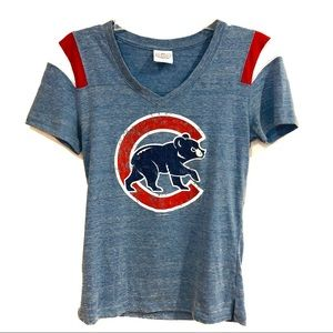 Chicago Cubs Distressed Graphic Baseball Tee